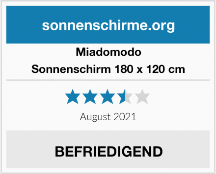 Miadomodo Sonnenschirm 180 x 120 cm Test