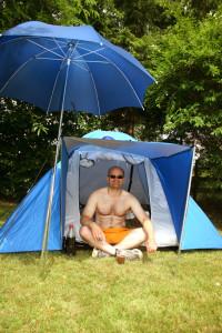 Sonnenschirm für den Campingurlaub